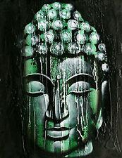BOUDDHA PEINTURE TABLEAU BOUDDHISME PAINTING BUDDHA VISAGE BOIS SPA VERT