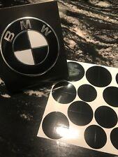 BLACK and WHITE BMW Emblem Overlay Sticker Fits Hood Trunk Wheels Steering Wheel