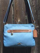 COACH 'Blue Jay' SAWYER Fabric & Leather Crossbody Messenger Shoulder Bag #37239