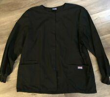 Women's Black Cherokee Scrubs Jacket Sz Xl? Snaps Long sleeves Knit wrists