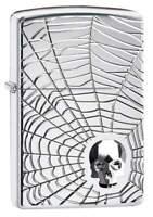 Zippo 29931, Spider Web-Skull, Armor, High Polish Chrome Lighter, Emblem
