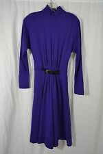 VINTAGE 1980s SHUBETTE purple wool dress size 8 midi length