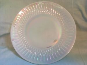 """VINTAGE Federal Glass Moonglow Shell Pearl Iridescent White Dinner Plate 9 7/8"""""""