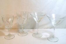 "2 Arcoroc France ""Petale"" Pattern Wine Glasses & 2 Martini Long Stem Glassware"