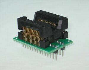 SOP28 ZIF socket ╍ IC Test / Programmer Adapter SO28 to DIL ╍  Gold, 28pin