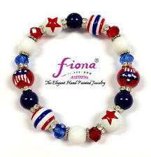 USA American Star Patriotic Beaded Stretch Bracelet Women Wear w Gift Bag