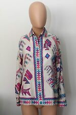 PUCCI COLORFUL 100% SILK SHIRT TOP BLOUSE BUTTON DOWN FUN SIZE 10