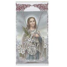 Needzo IVL Pewter Catholic Patron Saint Maria Goretti Medal w Holy Prayer Card