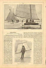 Ice Sailing, Ice Skating, Wind Surfing, 3pg. Vintage 1890 German Antique Article