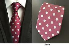 Red/Maroon and White Polka Dot Handmade 100% Silk Wedding Tie