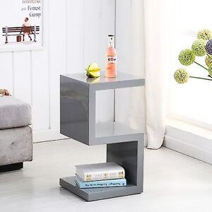 Designer Boston Square Side/End Table,Gloss Grey Office Living Room Shop Bedroom