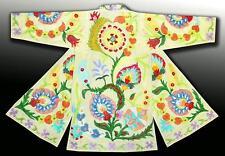 Gorgeous Uzbek-Ottoman Silk Embroidered Robe Chapan Coat A4951