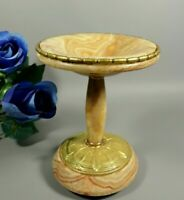 Antique Onyx Marble French Tazza Gilt Brass ART DECO Compote Footed Bowl 1930s