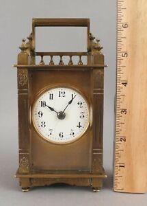 Antique c1880 Small Gold Gilt Bronze Carriage Clock ...No Reserve!