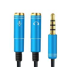 Audio Splitter Kabel Blau Y Adapter Headset 3.5mm Klinke Stecker > 2 x Buchse