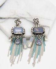 Long Ear Stud Hoop earrings 291 Fashion Multi Crystal Rhinestone Silver Plated