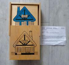 DDR 4 Häuser Spiel Holzspielzeug Würfelspiel Puzzel Lernspielzeug ab 3 Jahre