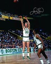 "Larry Bird Boston Celtics Autographed 16"" x 20"" Shooting in White Jersey Photo"
