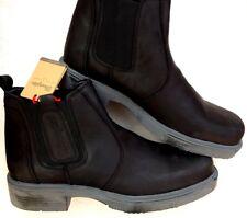 New Mens Wrangler Nubuck Chelsea Leather Biker Boots Pull On Black UK 11 EUR 45