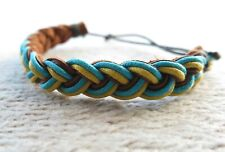 Wrist Bracelet Brown Green Yellow Genuine Suede Leather Coloured Cord Braided