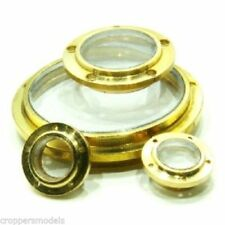 Model boat 6 hole Flanged brass porthole Pre-glazed 10mm diameter pack of 10