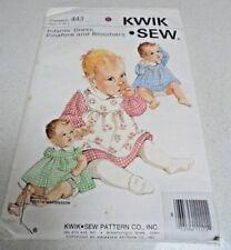 443 Kwik Sew Infant Pinafore Dress Bloomers Sewing pattern UNCUT Sz 0-12Mths