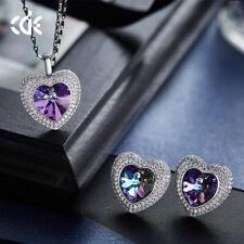 Schmuckset Titanic Herz mit Swarovski® Kristallen Silber Perlen 18K Gold UVP129€