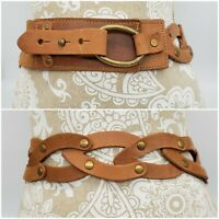 Genuine Leather Braided Looped Wide Waist Belt Adjustable size S/M Studs Rivets