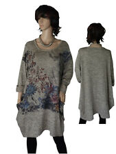 EG 50 52 54 Kleid Shirtkleid Baumwollkleid Longtunika Beige/Grau meliert Strass