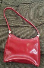 Liz Claiborne Red Glazed Purse Shoulder Bag Organizer Sliver Hardware