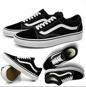 Vans Old Skool Trainers Black Unisex Sneaker Leder Canvas Snesker Gr.35 - 44 EU