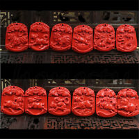 1pc Unisex Beautiful Cinnabar carved Chinese zodiac Pendant bead Red 12 Styles