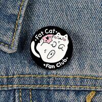 Fat Cat Fan Club Enamel Pin White Kitty Black Round Brooches brooch jewelry Gif