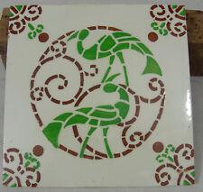 carreau faience desvres paon minton tile art deco 1950  glazed peacock