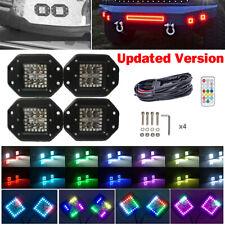 "4x 30W 5"" Flush Mount Offroad Led Work Light Pods w/ RGB Halo Ring Chasing Kits"