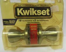 Kwikset Mobile Home Keyed Entry Door Knobs Brushed Brass NEW VTG