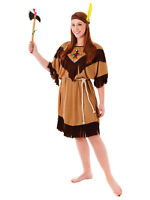 Native Red Indian Pocahontas Ladies Fancy Dress Squaw Outfit Costume Womens Lady