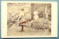 CABINET PHOTO 1892 à Cosne nommé Andrée Le Tersec 2 enfants avec carriole à bras