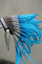 TURQUOISE indian feather headdress indian war bonnet american costumes supply