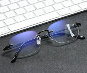 Rimless Anti Blue Ray Progressive Distance Reading Glasses Multifocal Magnifier