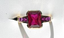 Lab-Created/Cultured Yellow Gold Ruby Fine Rings