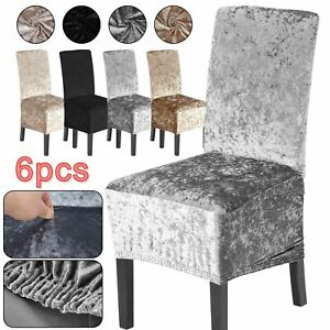 6X Crushed Velvet Dining Chair Covers Stretchable Christmas Slipcover Decor