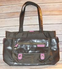 ee0c97e0fcfc Esprit Brown   Pink Multi Pockets   Snaps   Sections Stripes Lined Small  Tote