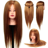 24'' 80% Veri Capelli Testina Studio Mannequin Testa Parrucchiere Head Clamp  2