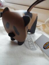 New FOSSIL leather Panda with Fossil cloth bag. keyring or for handbag