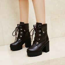 Womens Ankle Boots Lace Up Combat Booties Block Heel Round Toe Platform Shoes