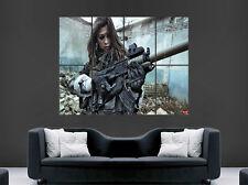 Sexy Hot Girl Poster PISTOLA MITRAGLIATRICE ARMA automatica guerra arte foto stampa