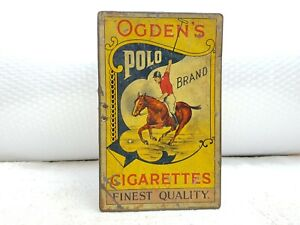 1920s Vintage Rare Ogden's Polo Brand Cigarettes Litho Tin Box England