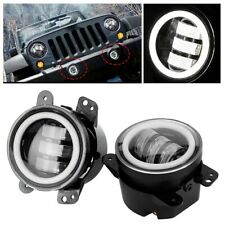 """4"""" 30W Angel Eye Round White LED Front Fog Lamp Light For Jeep Wrangler 4x4 SUV"""