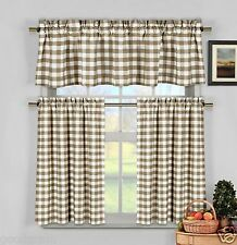 Taupe Beige Gingham Checkered Plaid Kitchen Tier Curtain Valance Set Duck River